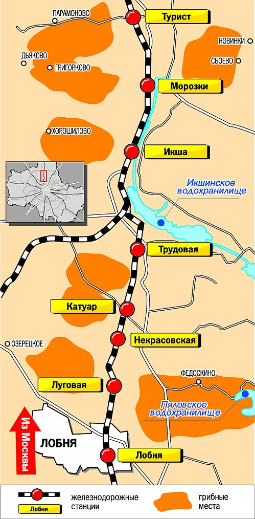 Грибные места, Савеловское направление