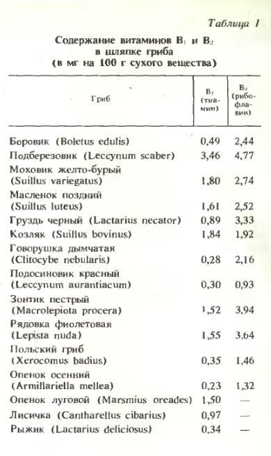 Содержание витаминов B1 и B2 в шляпке гриба (в мг на 100 г сухого вещества)
