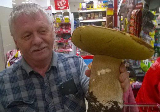 Житель Златоуста удивил покупателей одного из магазинов необычной находкой, огромным грибом, который нашел недалеко от национального парка Таганай