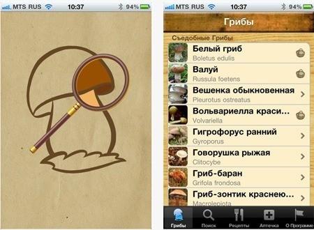 Программа iПоГрибы для владельцев iPhone и iPad