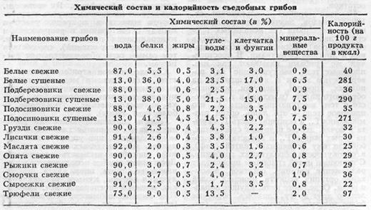 Химический состав и калорийность съедобных грибов