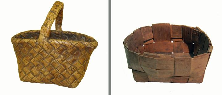 Для сбора грибов использовали корзины двух видов: сплетенные из бересты и из лучины.