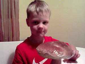 Ваня в минувшие выходные нашел аж три гриба-гиганта, один другого больше.